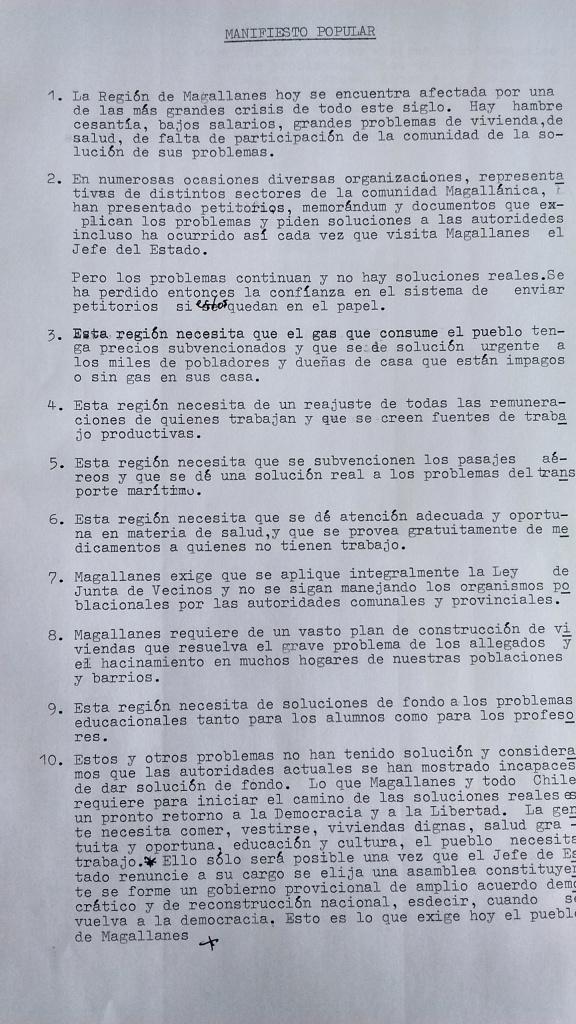 Manifiesto Popular circulado en Punta Arenas en las primeras semanas de febrero de 1984. Archivo personal del autor.
